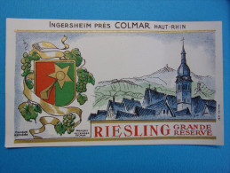 Ancienne Etiquette De Vin D´ALSACE : RIESLING Grande Réserve - INGERSHEIM Près COLMAR - Riesling
