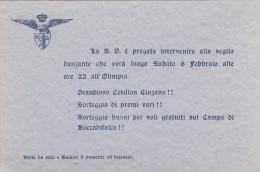 REALE UNIONE NAZIONALE AERONAUTICA - PALERMO  /  BIGLIETTO INVITO PER L'OLIMPIA - Italia