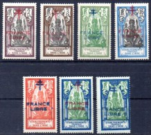 FRENCH INDIA 1943 - The Complete Set Overprinted FRANCE LIBRE, Mint NH (7) - India (1892-1954)