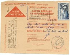 LGZ- FRANCE EVIAN 65f SUR CONTRE REMBOURSEMENT DE NOVEMBRE 1958 - Postmark Collection (Covers)