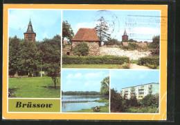 AK Brüssow, Kirche, Stadtmauer Mit Weichhaus & Neubaublock - Bruessow