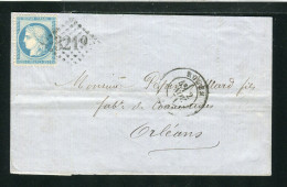 Lettre De Rouen Pour Orléans 1871 - Effigie Dégagée - Marcophilie (Lettres)