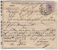 AMMINISTRAZIONE DEL DEMANIO E DELLE TASSE SUGLI AFFARI Ufficio Registro Di Como 1886 - Italia