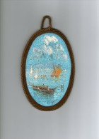 - Bellissimo Panorama Di Napoli Con Vesuvio E Barche.  Dipinto Su Velluto.  Circa 12x20cm - Pittore L. Savarese - Acryliques