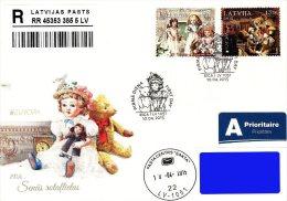 Latvia Lettland Lettonie 2015 (08) Europa - Old Toys - Doll, Teddy Bear (addressed FDC) - Lettland