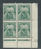 France Taxe N° 69 X Type Gerbes : 50 C. En Bloc De 4 Coin Daté Du  7 . 1 . 44 .  1 Point Blanc, Tr Charnière Sinon TB - Postage Due