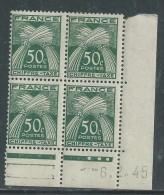 France Taxe N° 69 X Type Gerbes : 50 C. En Bloc De 4 Coin Daté Du  6 .2. 45 .  3 Points Blancs, Tr Charnière Sinon TB - Postage Due