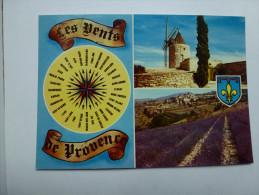 CP , Les Vents De Provence , Vent , Lavande , Moulin , Blason - France