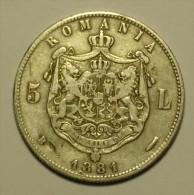 Dd Roumanie Romania Rumänien 5 Lei 1881 Argent / Silver # 2 - Roumanie