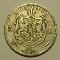 Dd Roumanie Romania Rumänien 5 Lei 1881 Argent / Silver # 2 - Romania