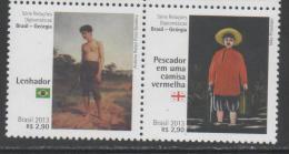 BRAZIL, 2013, MNH,   DIPLOMATIC RELATIONS WITH GEORGIA, ART, PAINTINGS, FISHERMAN, 2v - Art