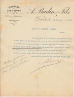 Filature De Lin Et Coton-a Badin & Fils-barentin Fevrier 1898 - Textile & Clothing