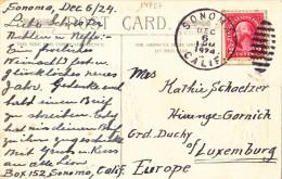 14727# ETATS UNIS USA CARTE POSTALE Obl SONOMA CALIFORNIE 1924 Pour HIVANGE GARNICH LUXEMBOURG - Luxembourg