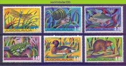 Mwe2043 FAUNA KIKKER VIS VOGEL LIBEL EEND RAT SCHELP FROG DUCK BIRD FISH SHELL SNAIL DRAGONFLY JUGOSLAVIJA 1976 PF/MNH - Stamps
