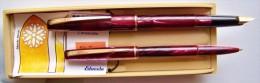 2 STYLOS ENCRE ET BILLE MALLAT EDACOTO N°4 AGRAFES & PLUME DOREES BELLE PRESENTATION BOITE PLASTIQUE FERMETURE PAPETERIE - Penne