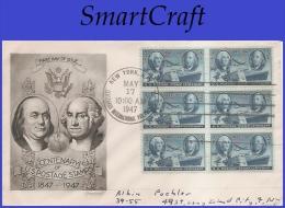 USA # 947 ADDR SMARTCRAFT FDC BL6  Postage Stamp Centenary - 1941-1950