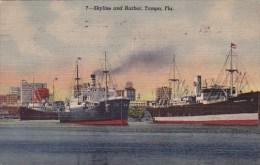 Florida Tampa Skyline And Harbor 1950