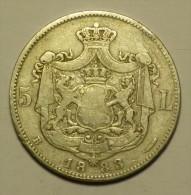 Roumanie Romania Rumänien 5 Lei 1883 Argent / Silver - Rare Variant # 6 - Rumania