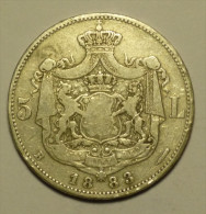 Roumanie Romania Rumänien 5 Lei 1883 Argent / Silver - Rare Variant # 3 - Rumania