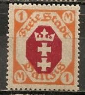 Timbres - Allemagne - Etranger - Dantzig - 1921 - 1 M. -