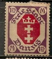 Timbres - Allemagne - Etranger - Dantzig - 1921 - 1.25 M. -