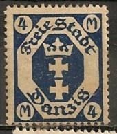 Timbres - Allemagne - Etranger - Dantzig - 1921 - 4 M. -