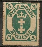 Timbres - Allemagne - Etranger - Dantzig - 1921 - 5 M. -