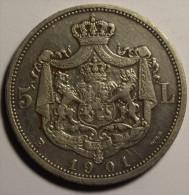 Roumanie Romania Rumänien 5 Lei 1901 Argent / Silver # 2 - Rumania