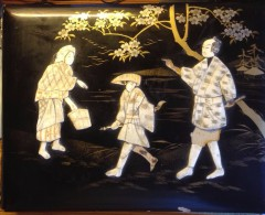 ALBUM VIDE ANCIEN JAPONNAIS En BOIS LAQUE NOIR Et IVOIRE -  20 PAGES RECOUVERTES De SOIE PEINTE à La MAIN - Années 1900 - Matériel