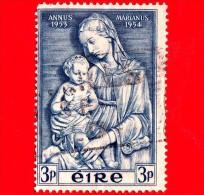 IRLANDA - Eire - Usato - 1954 - Anno Mariano - Madonna Di Della Robbia - 3  P - 1949-... Repubblica D'Irlanda