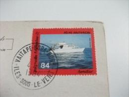 STORIA POSTALE FRANCOBOLLO COMMEMORATIVO POLINESIA FRANCESE LA PROFONDE BAIE DE MAROE A HUAHINE NAVE SHIP - Polynésie Française