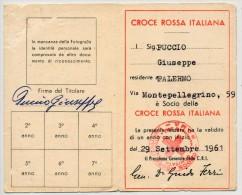 PALERMO TESSERA CROCE ROSSA ITALIANA 1961 - Documents Historiques