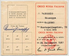 PALERMO TESSERA CROCE ROSSA ITALIANA 1961 - Documenti Storici