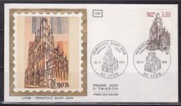 =Enveloppe Premier Jour Illustration Sur Soie N°2132 Cathédrale Saint Jean De Lyon Primatiale Des Gaules 69 Lyon 30.5.81 - FDC