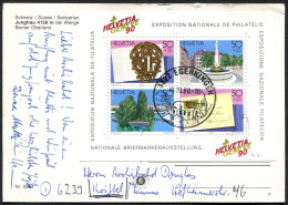 (1306) Schweiz, Echt Beförderte Ansichtskarte, Block Briefmarkenausstellung, MiNr. Block 26 - Suisse