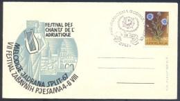 Yugoslavia 1967 Cover: Music Festival Split - Festival Des Chants De L'Adriatique; Fauna; Music Instruments  Lyre - Musique