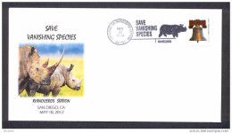 UNITED STATES OF AMERICA 2012. SPECIAL POSTMARK. RHINOCEROS. SAVE VANISHING SPECIES. SAN DIEGO CALIFORNIA - Rinocerontes