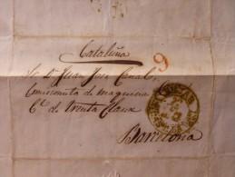 LETTRE BEJAR VERT 9 ROUGE A BARCELONE 1844 - Spain