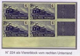 Colis Postaux 1945 Maury N° 214 Sf G= 6,50 F Colis Encombrant * Als 4er Block Mit Eckrand Vom Rechten Unterrand = Bloc D - Colis Postaux
