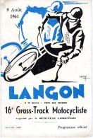 Programme Langon - 16ème Grass-Track Motocycliste 9 Août 1964 - Programmi