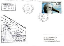 "77 - TAAF Fsat LETTRE Du 19/11/2007 : "" ALBATROS A BEC JAUNE "" N° YT 467. Voir Les Scan - Marine Web-footed Birds"
