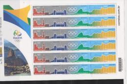 RO)2012 BRAZIL, RIO DE JANEIRO, RIO 2016 OLYMPIC GAMES FLAG DELIVERY, MOUNTAINS, S/S, MNH - Brazil