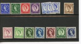 GB QEII Definitives Various Values Mounted Mint (D744) - Neufs