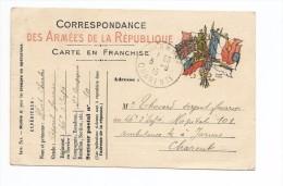 Correspondance Des Armées De La Republique Carte En Franchise Expédiée Par Un Légionnaire A JARNAC-CHARENTE MARITIME - Francia