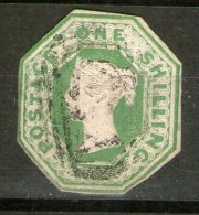 1847/54: 1 S Pale Green, Embossed Issue, Octagonal Cut, S>G. Spec. No. H1(1), Used - 1840-1901 (Regina Victoria)