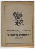 """MANUEL POUR L'USAGE ET L'ENTRETIEN DES  MOTEURS  """" BERNARD - MOTEURS """" TYPE W . 10 - Transports"""