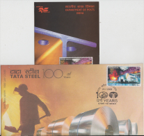 India  2008  Tata Steel  Factory  100 Years  FDC  #  84835  Inde  Indien - Factories & Industries