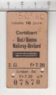 SBB CFF FFS - Cotébert -Biel/Bienne - Malleray-Bévilard 2. Cl. - Chemins De Fer