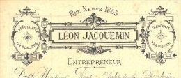 39 :Léon Jacquemin , Entrepreneur Charpente Et Menuiserie 55 Rue Neuve à Lons Le Saunier En 1882 - Frankrijk