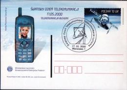 Poland Pologne, World Telecommunication Day, Mobile Elecommunication. Old Telephone, Satellite. Warsaw 2000. - Télécom